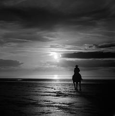 Holme Beach (so last century) Tags: bw blackandwhite beach film ilfordhp5 ilfordfilm yashica635 mono monochrome americana horse horseback holmebeach homefarmstables hat hp5 hunstanton