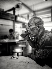 Coffee and life (Rexer Ong) Tags: portrait man coffee drinking hawkercentre people
