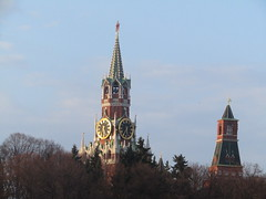 towers of Moscow Kremlin (VERUSHKA4) Tags: canon europe russia moscow city ville cityscape kremlin roof tower tree spring march springtime clock star ciel sky red blue hccity vue view historic gold green decor architecture towerclock arrow