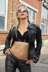 Sandy 89 (The Booted Cat) Tags: long blonde hair model girl leather sexy sunglasses
