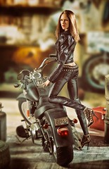 Harley 1 (Mr Action Figure) Tags: 16 16scale phicen tbleague seamlessfigure seamless brunette biker leather leatherjacket harleydavidson hog hottoys verycooltoys verycoolshooter garage motorcycle rider tamiya heels studs sexy