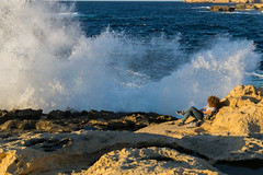 Crashes II (LeeDylanLeeDyl) Tags: adobe lr lightroom d3300 35mm 18 nikon nikkor gozo malta azure window wave waves crash crashing curly curls hair candid golden hour sunset blue yellow teal orange