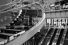 """Steps & Stairs & Escalators"" (Photography by Sharon Farrell) Tags: fultonstreet fultontrainstation fultontransportationhub fultoncenter lowermanhattan fultontransitcenter fultonstreetsubwaystation newyork newyorkcity newyorknewyork nyc stepsandstairs escalators stairways staircase stairporn stairscape stairwell blackandwhite blackwhite noiretblanc"