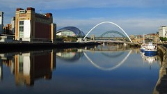 Newcastle Quayside panorama (WISEBUYS21) Tags: baltic centre for contemporary art millenniumbridge sage live music venue gateshead newcastleupontyne newcastleuntited river escapes boat reflection reflections blue sky day still wind free water mirror trip holiday destination out wisebuys21 kitiwakes silver white market tourist trap hot spot rivertynecruise cityscape best favourite highlevelbridge
