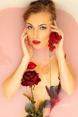 Kailey (austinspace) Tags: woman bath portrait spokane washington blond blonde wet nude naked flower flowers
