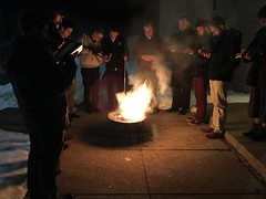 Seminarians pray Psalm 51 together palms burn in preparation for Ash Wednesday, 2019