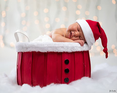 Early Christmas Gift (zachary.locks) Tags: adorable baby basket boy buttons christmas cute gabe happy hat high holiday key lights newborn photograpy props red santa sleeping sleepy snow son white zlocks