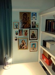 prayer corner/icon corner (Saints and Blesseds) Tags: catholic home altar prayer icon corner space war zone catholicism orthodox orthodoxy saints blesseds icons holy pictures bedroom roman virgin mary iconography veneration private devotion
