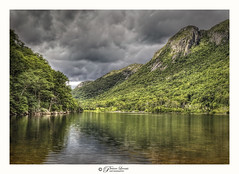 Profile Lake, White Mountains, New Hampshire, USA (Pearce Levrais Photography) Tags: mountain lake water reflection sky cloud landscape canon hdr outside outdoor nature scenic scenery travel toursim tree forest rock shadow sun cliff stone