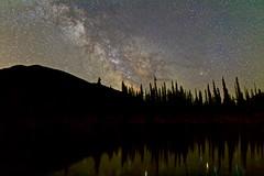 Milky Way Season -Min Horizon Noise (John Andersen (JPAndersen images)) Tags: aurora bowvalley kananaskis milkyway night pond reflections stacked trees