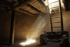 Kiva Dustbeam (courtney_meier) Tags: nationalhistoricsite newmexico pecospueblo dust kiva lightshaft reconstruction sunbeam sunlight pecos unitedstatesofamerica us