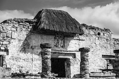 Entrance to the Mayan palace in Tulum - Mexico (bvi4092) Tags: general ruin decay sigma outing bw outdoor holiday exterior 18250mm excursion d300s travel nikon day3cozumeltulum historic architecture photoshop pillar blackandwhite building trip outside