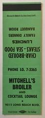 MITCHELL'S BROILER LONG BEACH CALIF (ussiwojima) Tags: mitchellsbroiler mitchellscocktailloungerestaurant bar cocktail lounge longbeach california advertising matchbook matchcover