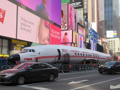 2019 Celebration of Retro TWA Hotel - Wingless Plane Times Square 4509 (Brechtbug) Tags: 2019 celebration retro twa hotel brooklyn wingless 1958 lockheed constellation connie l1649a starliner airplane visits times square before heading trans world airlines new yorks john f kennedy international airport known york anderson field commonly idlewild city march 23rd nyc 02232019