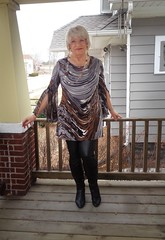 Not For The Woman Of Faint Heart (Laurette Victoria) Tags: porch dress leggings pleather boots blonde woman laurette earrings necklace