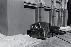 Retired Couch. Baltimore, Md. (Feb. 16, 2019) (Thomas Cluderay) Tags: baltimore baltimoremaryland maryland city photography saturday canon canon6d abandoned couch furniture blackandwhite blackandwhitephotography alley