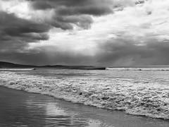 Drama @ Lorne (Marian Pollock) Tags: australia victoria beach water sea ocean clouds reflections blackandwhite waves coastline outdoors