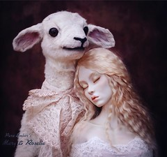 The beauty of sleep/sheep 🐑 (pure_embers) Tags: pure embers laura pureembers uk england whimsical cute photography portrait lamb sheep taxidermy animal sculpture mary doll collector anthropomorphic adele morse porcelain bust dolls girl viktoriyaartdoll rosalia embersrosalia photo fine art blonde dark friend sleep