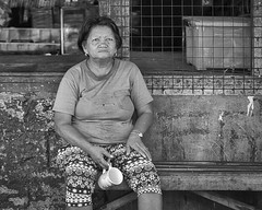 Taking a Break (Beegee49) Tags: street woman filipina coffee break blackandwhite monochrome bw luminar sony a6000 bacolod city philippines asia happyplanet asiafavorites