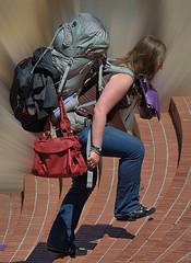 Going Up (Scott 97006) Tags: woman female lady carry backpack jeans climb load trek belongings upward step purse steps weight heavy