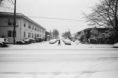 Beacon Hill (ewitsoe) Tags: bnw blackandwhite cityscape monochrome nikonfm2 pnw seattle street washington erikwitsoe erikwitsoecom urban city snow snowing winter figure single streetscene cinematic day light