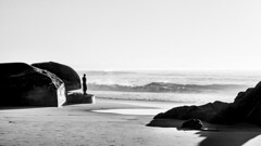 Contemplation (SimonFRS) Tags: waves water ocean beach sea nature naturephotography landscape countryside outside sunset black white bnw blackandwhite amateur fujifilm