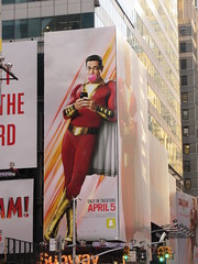 Shazam The Big Red Cheese Billboard 42nd St NYC 3713 (Brechtbug) Tags: shazam billboard 42nd street new captain marvel the big red cheese poster ad nyc 2019 times square movie billboards york city work working worker paint painting advertisement dc comic comics hero superhero alien dark knight bat adventure national periodicals publication book character near broadway shield s insignia blue forty second st fortysecond 03142019 lightning flight flying march