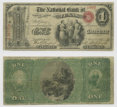 United States $1.00 (one dollar) national currency (SMU Libraries Digital Collections) Tags: texas money national us united states currency paper banks notes note banknote banknotes chartered bank banking galveston galvestoncounty