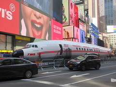 2019 Celebration of Retro TWA Hotel - Wingless Plane Times Square 4510 (Brechtbug) Tags: 2019 celebration retro twa hotel brooklyn wingless 1958 lockheed constellation connie l1649a starliner airplane visits times square before heading trans world airlines new yorks john f kennedy international airport known york anderson field commonly idlewild city march 23rd nyc 02232019