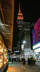 Evening in the City (Jocey K) Tags: empirestatebuilding sonydscrx100m6 triptocanadaandnewyork architecture buildings evening illumination macy windowdisplay street people shadows newyorkcity