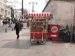 Food Choices (lazy south's travels) Tags: istanbul turkey turkish food road street scene urban candid cart stall sign