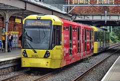 """Manchester Metrolink Bombardier """"Flexity Swift"""" M-5000 type No.3047A with Vodaphone advertizing livery at Sale on 5 Oct 2018 (Trains and trams eveywhere) Tags: manchester metrolink tram localtransport electric flexityswift m5000 bombardier sale vodaphone"""