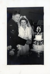 VINTAGE WEDDING. 1940s (JOHN MORGANs OLD PHOTOS.) Tags: vintage found photo wedding 1940s uk unusual unitedkingdom unknown unique interesting different bw black british photos photographer people bouquet cake army raf johnmorgan world war 2 two canada