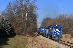 Miller road (GLC 392) Tags: glc great lakes central railroad railway train emd gp382 gp35 399 396 397 395 390 durand mi michigan tree trees matching paint scheme sky blue white miller road