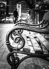 Budapest in black and white (PhotoFreakx) Tags: lumix ironwork bench blackandwhite city people streetphotography street bw budapest hungary