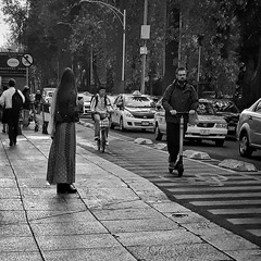 Mexico City (puliMexNed) Tags: ciudaddemexico mexico reforma blackwhite streetphotography scotter bicycle girls