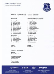 Everton v Brighton & Hove Albion 2018-19 - FA Youth Cup - Teamsheet (Bob Latchford) Tags: