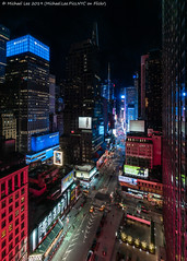 Broadway Night View (20190209-DSC04583) (Michael.Lee.Pics.NYC) Tags: newyork timessquare broadqay aerial hotelview novoteltimessquare night longexposure architecture cityscape seventhavenue street road sony a7rm2 voigtlanderheliar15mmf45 signage advertising theater beetlejuice wicked