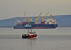 Lough Foyle. (willieguildea) Tags: boat ship trawler fishingboat water waterscape sky clouds lough river loughfoyle coast coastal coastalview nikon coolpix p900 donegal ireland eire ulster
