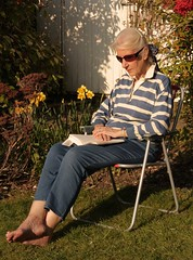 quiet read (suzy jh) Tags: garden quietmoment reading relaxing sitting sunshine sunny february warm weather