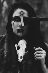 (NMXIII) Tags: goth viking volva pagan snake black white blackandwhite bw dog dress killstar blackheart headdress roses agameoftones photography portraiture portrait serpent axe hatchet tones chain bdsm ritual witch witchcraft darkness darktones fur cloak skull makeup avantgardemakeup avantgarde