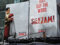 IMG_4471 (Brechtbug) Tags: shazam billboard 42nd street new captain marvel the big red cheese poster ad nyc 2019 times square movie billboards york city work working worker paint painting advertisement dc comic comics hero superhero alien dark knight bat adventure national periodicals publication book character near broadway shield s insignia blue forty second st fortysecond 03232019 lightning flight flying march