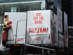 IMG_4452 (Brechtbug) Tags: shazam billboard 42nd street new captain marvel the big red cheese poster ad nyc 2019 times square movie billboards york city work working worker paint painting advertisement dc comic comics hero superhero alien dark knight bat adventure national periodicals publication book character near broadway shield s insignia blue forty second st fortysecond 03232019 lightning flight flying march