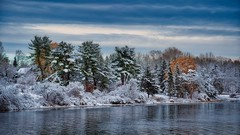 Postcard From Home (ROPhoto77) Tags: damariscotta river waterfront clouds trees snowcovered snow winter