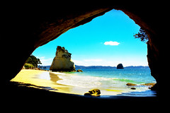 Cathedral Cove (MAX A MILLION Photography) Tags: top landscape peninsula cove nobody kiwi abstract seaside relax background sundown tranquility sea nature sky spring peaceful cathedral wave subtropics beautiful shore bay new unique pacific vacation travel hills shapes coromandel scenic blue seascape coast color colorful rocks zealand ocean nz sand beach green wallpaper water hahei newzealand oceania picturesque tunnel tourism hiking sandstone archway watersedge stones seashore hole holiday outdoors cave boulder pacificocean boulders arch monolith traveldestinations rock rockformation cathedralcove tree cavern postcard narnia