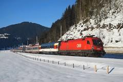 "1116 273, EC 163 ""Transalpin"" ( Zürich -> Graz ). Eben i. Pongau (M. Kolenig) Tags: 1116 schnee transalpin baum wald eurocity ennstalbahn"