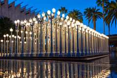 Urban Lights at LACMA (SCSQ4) Tags: california donutstreetmeet favorite favoritepicture lacma lights losangeles losangelescountymuseumofart morning outdoorart outdoors rain rainyday reflections twilight urbanlights