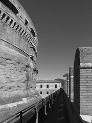 Sant'Angelo wall (Oleg Kr) Tags: italia italy lazio panasonic1232mmf3556 roma rome santangelo blackwhite blackandwhite castle