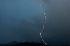 Daylight Lightning (armct) Tags: lightning strike thunderstorm goldcoast hinterland border ranges radardome airservicesaustralia daytime mtsomerville cloud rain horizon skyline silhouette sky blue threatening weather
