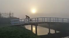 Misty Morning Biker on Bridge (Peter ( phonepics only) Eijkman) Tags: zaandam zaanstad zaan zaanstreekwaterland nederland netherlands nederlandse noordholland holland